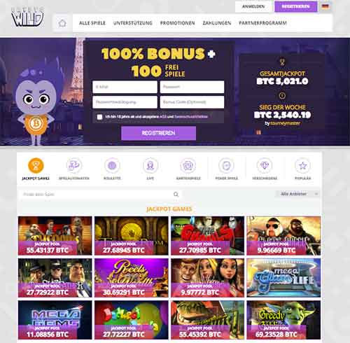 CryptoWild Casino Webseite